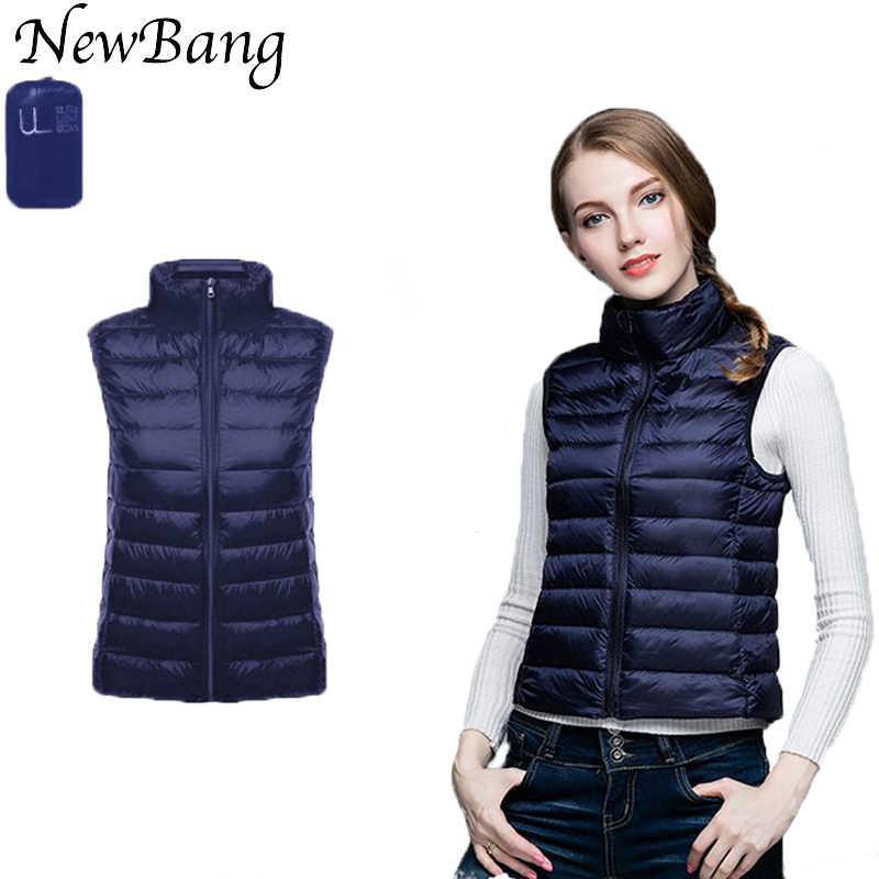 Бренд NewBang, женские ультра легкие пуховые жилеты без рукавов, тонкая куртка для девочек, жилет, плюс легкий ветрозащитный теплый жилет