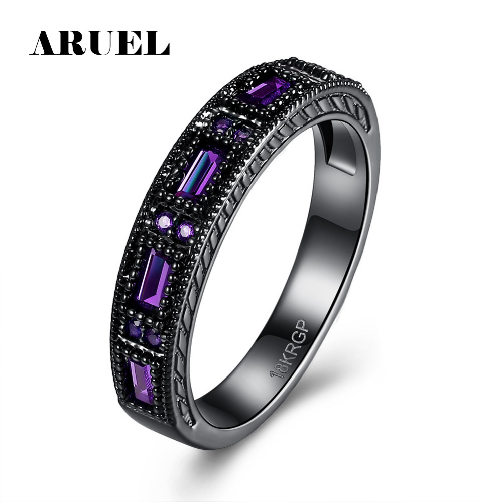 promotion wedding band promotion law enforcement wedding bands ARUEL Black Gun Plated Wedding Bands Rings Fashion Purple Blue Green Glass Stone Zircon Women Party Birthday Jewelry Finger Ring