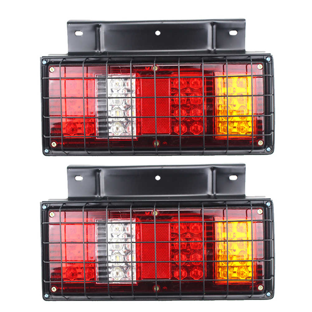 2 PCS 32-LED 24V Multi-functional Tail Lights with Iron Net for Truck Trailer Caravan