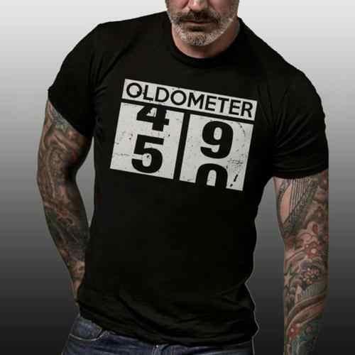 Oldometer 49 50 50Th Preto dos homens do Presente de Aniversário Do Vintage Camisetas EUA tendência 2019