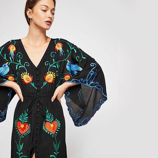 Купить летнее новое богемное туристическое курортное платье с свободным картинки