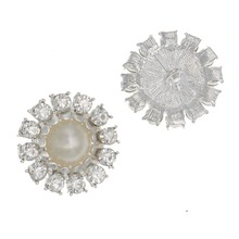27mm 1 1/10 Pearl Rhinestone Shank Sewing Buttons DIY Wedding Gem Coat Accessories for Women Jeans Embellishment 10pcs
