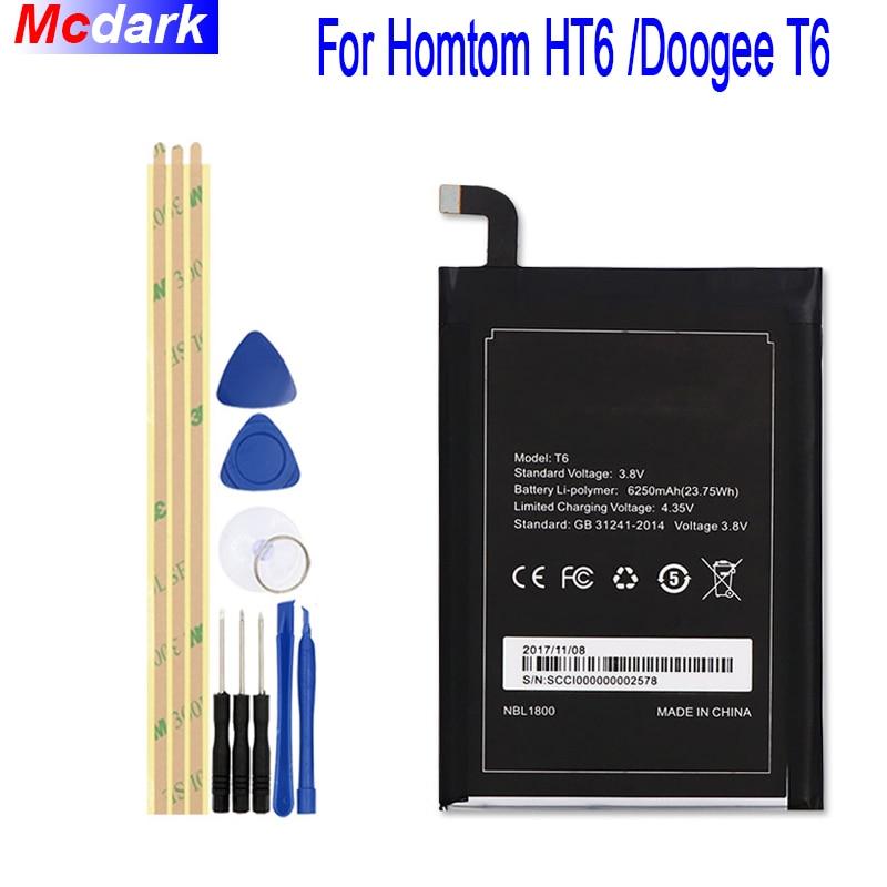 For Homtom HT6 Battery 6250mAh for DOOGEE T6 & T6 Pro Batterie Bateria Accumulator AKKU+ToolsFor Homtom HT6 Battery 6250mAh for DOOGEE T6 & T6 Pro Batterie Bateria Accumulator AKKU+Tools