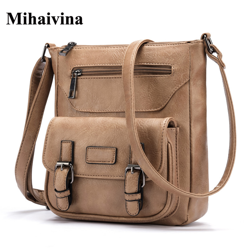 Mihaivina Fashion Women Flap Bag Famous Brand PU Leather Messenger Bag Vintage Women Cross body Shoulder Bag Female Handbags