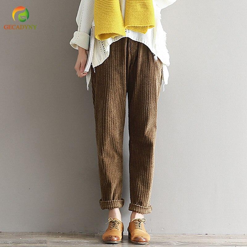 Plus tamaño S-3XL 2018 mujeres pantalones de pana de otoño e invierno de moda Vintage Pantalones rectos Casual cintura elástica pantalones Harem chicas
