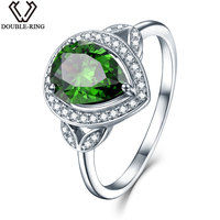 DOUBLE R Sterling Silver Jewelry Ring Created Emerald Vintage Jewelry Rings For Women Silver 925 Wedding