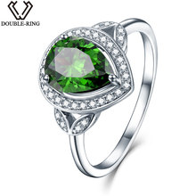 DOUBLE-R Created Emerald Gemstone 925 Sterling Silver Zirconia Embroidery Ring Costume Rings Embroidery