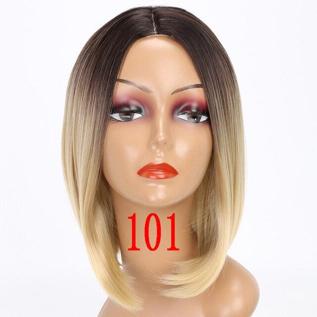 MERISI HAAR Kurze Perücke Gerade Bob Frisur Synthetische Haar Braun Gelb Ombre Grau Lila Perücken Für Frauen 12 inch Freiheit