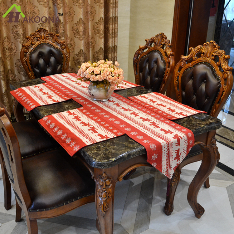 hakoona chic cotone poliestere jacquard rosso natale cervo runner tovaglietta tovaglia di natale decorazione cucina di