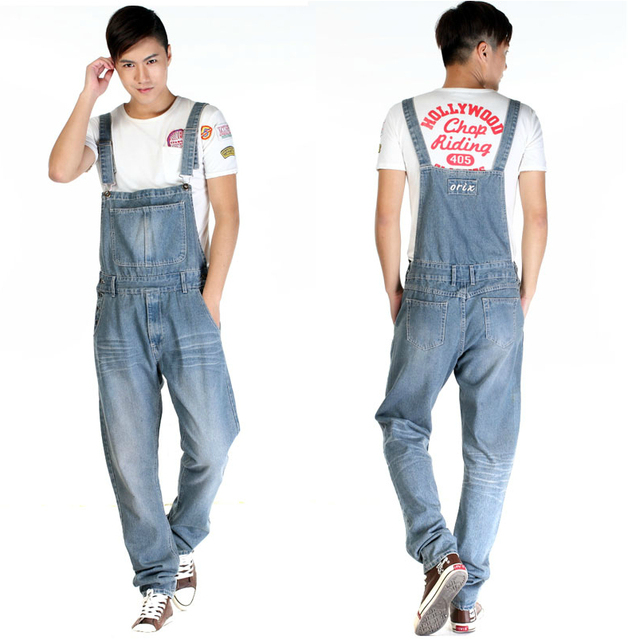 2014 nova moda relembrou homens calças Jeans de lavagem calças soltas plus size zipper macacão Jeans macacão