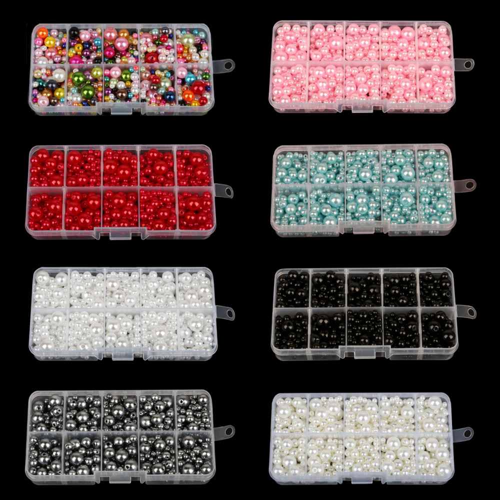 Approx 350pcs Round AAA+ Mixed Size 4-10mm Beads ABS Pearls Loose Beads For Handcarft Bracelet Making For Jewelry Handmade DIY(China)