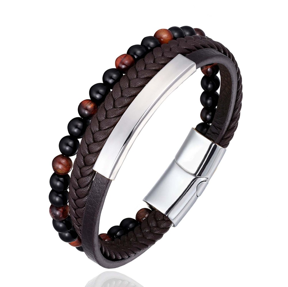 New Stainless Steel Buckle Beads Bracelet Stainless Steel Accessories Leather Men Bangle Tiger eye Stone Beads Bracelet Jewelry