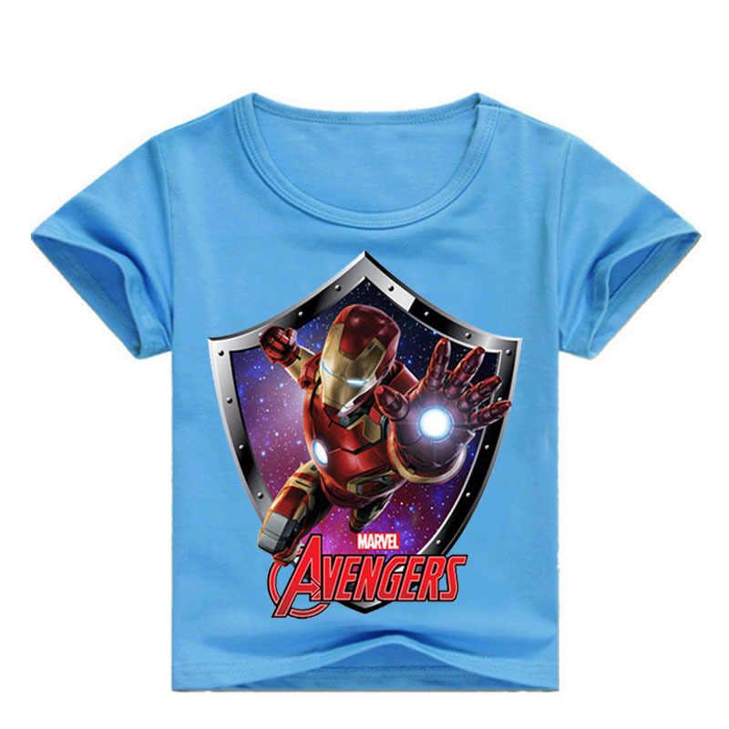 """Летняя футболка с рисунками из мультфильмов ручной работы, с принтами """"Marvel"""", """"Мстители Железный человек печать для маленьких мальчиков футболка для мальчиков младенцев девочек Детские футболки хлопковые футболки Детские Топы"""