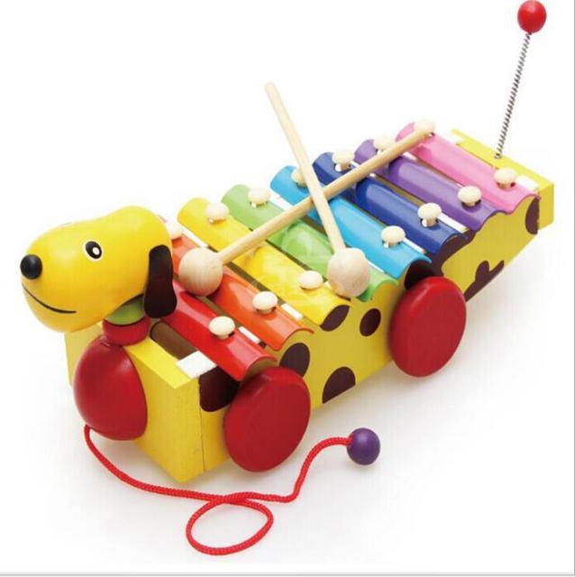 Bebé juguetes educativos para la primera infancia de madera juguetes musicales de madera cachorro coche pequeño perro marrón piano de arrastrar golpear el piano