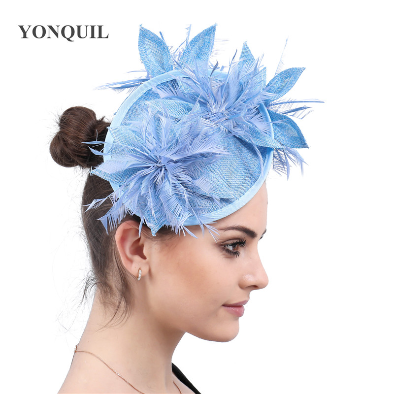 Light Blue Fascinator Hats Flower Hair Accessories Ladies Kentucky Derby Hats 16 Colors Or Fascinator Headbands With Feathers