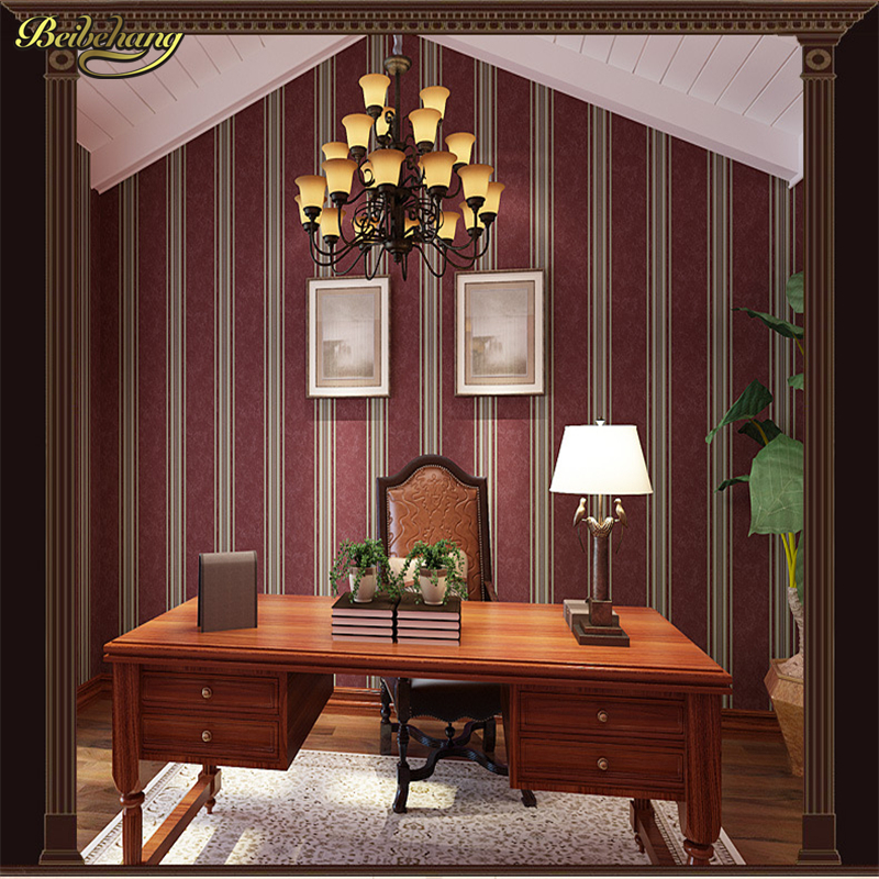 beibehang papel de parede,Palace luxury homes stripe non-woven wallpaper American study bedroom living room TV background