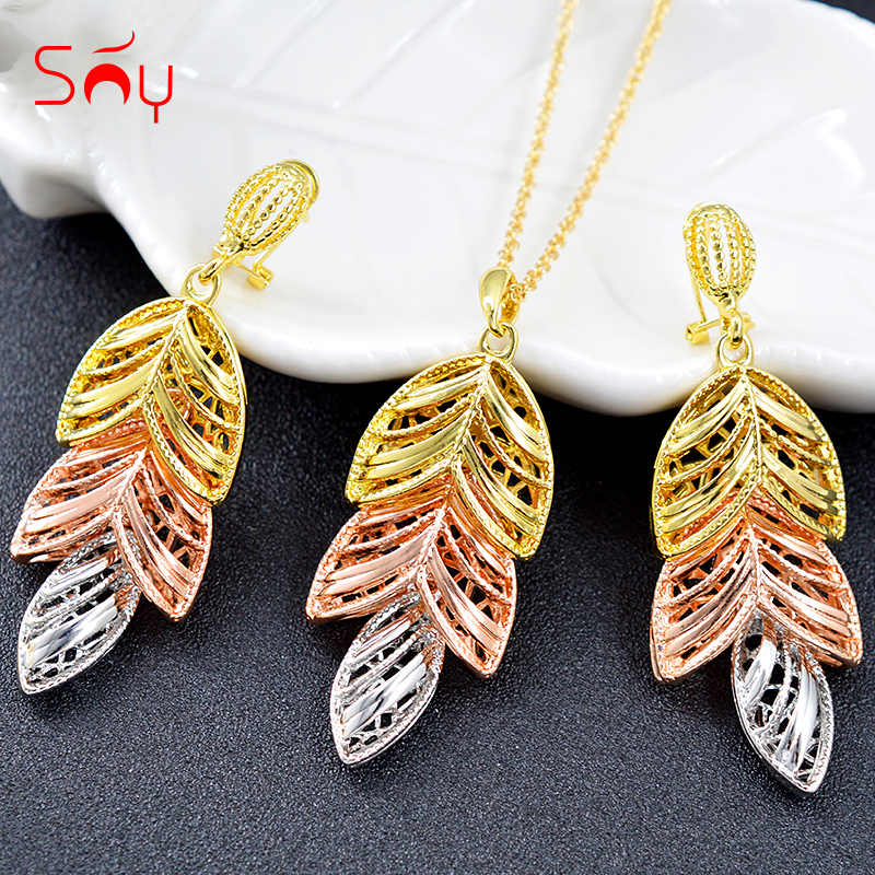 Sunny Jewelry Jewelry Findings 2019 Women Jewelry Sets Necklace Ethnic Earrings Pendant Triple Leaf For Party Wedding Birthday