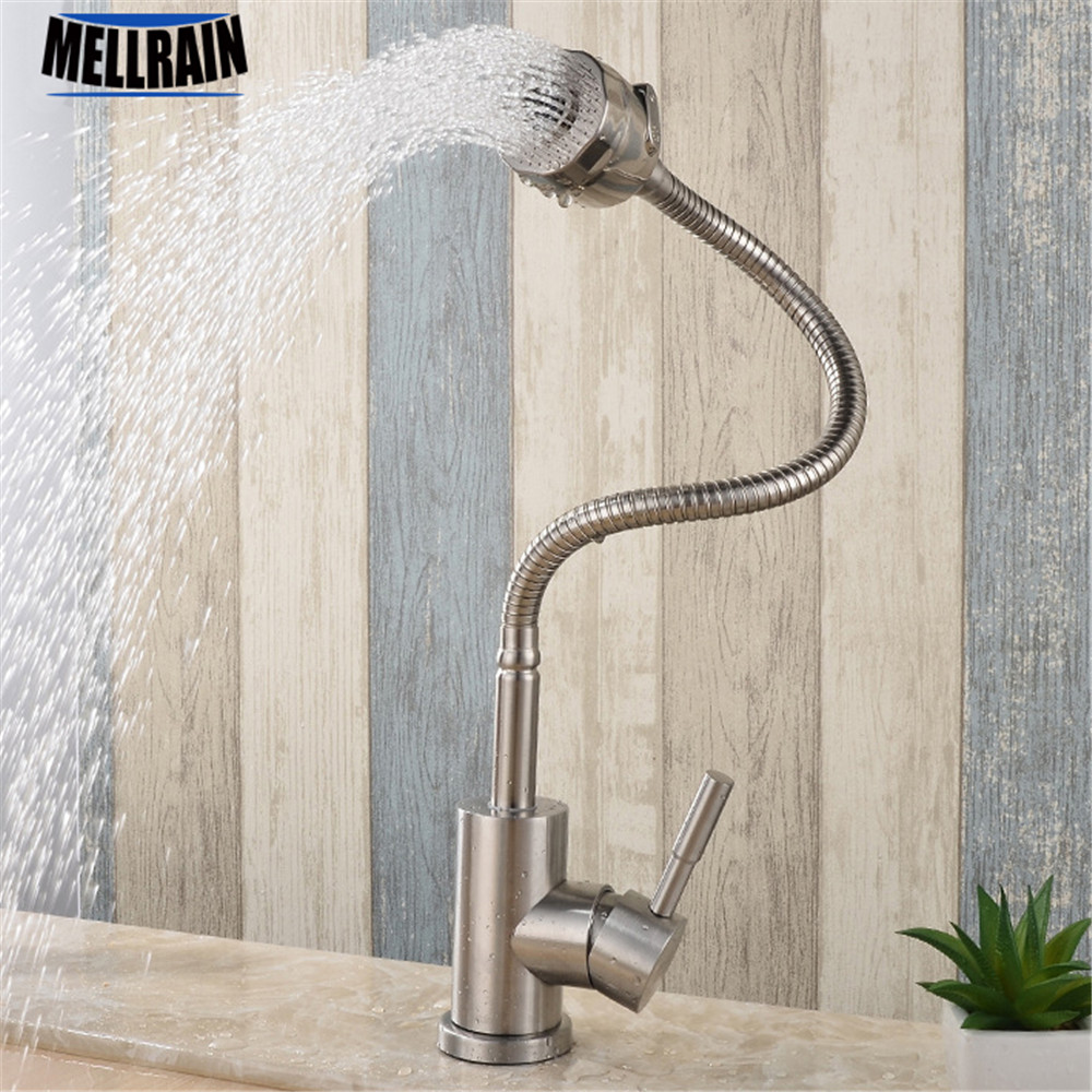 Free rotation brushed 304 stainless steel kitchen faucet mixer water sink spray pull out kitchen faucet