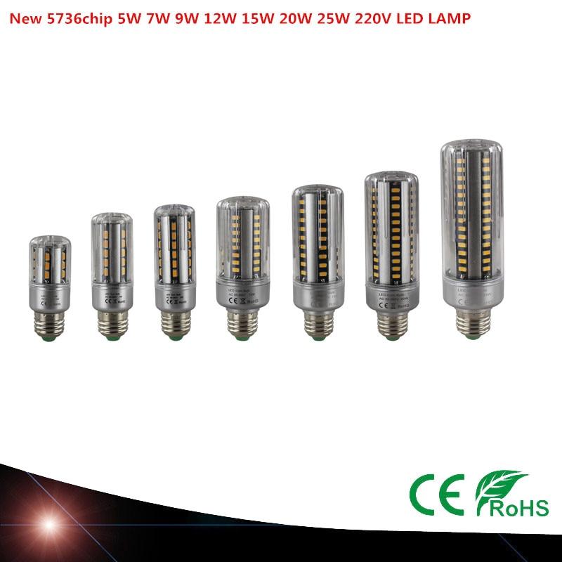 NEW E27 LED Lamp SMD 5736 LED Corn Bulb 5W 7W 9W 12W 15W 20W 25W LED Corn Light AC220V No Flicker Chandelier Light white/warm