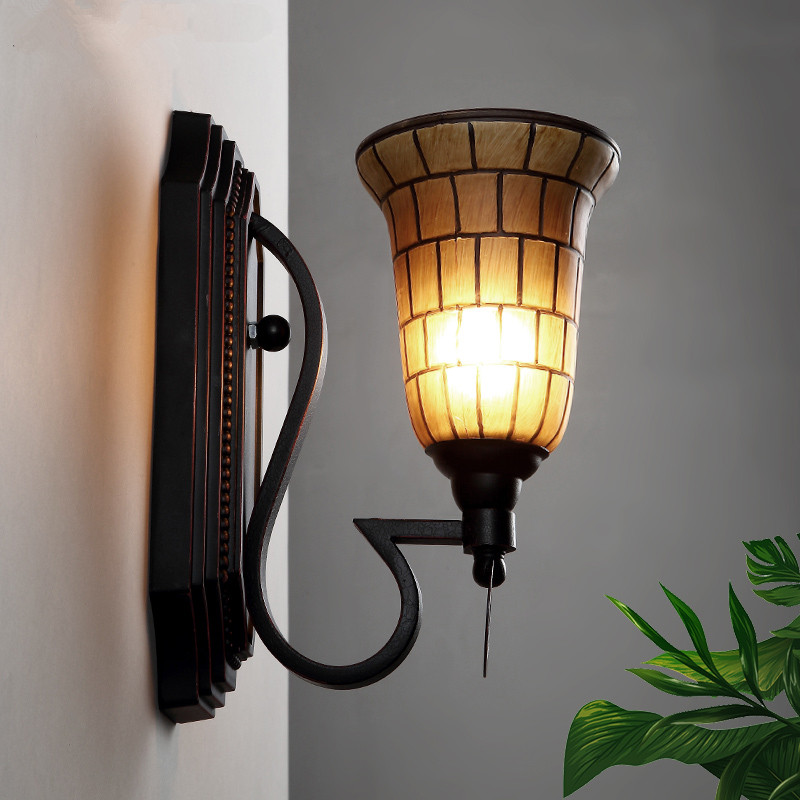 American Style Retro E27 LED Wall Lights Living Room Wall Sconces Industrial Wind Bedroom Bedside Iron Glass LED Lamp Lighting wall sconces double heads light umbrella shape wall lights retro industrial e27 edison lighting iron craft decorative wall lamp