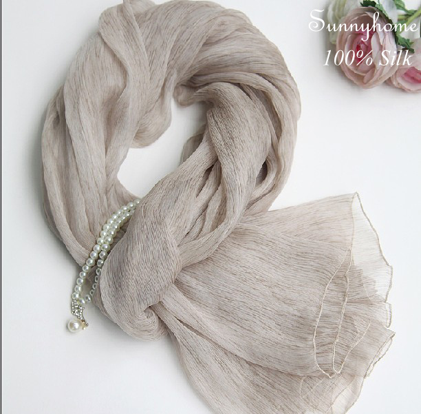 100% Pure Silk Twill Loop Scarf Women Jersey Hijab Bufandas Mujer Print Gray Wrinkle NewBorn Wrap Szal Jedwabny Silk Scarves