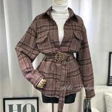 Autumn Casual Korean Style Vintage Elegant Office Lady Women Trench Coats Khaki Slim Plaid Button Pocket Retro Outwears 2019 new autumn v neck vintage plaid coats small fragrance big pocket outwears single button elegant women куртки женские 2019