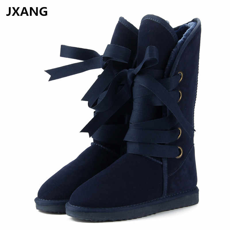 JXANG Australia Classic Fashion High  Snow boots Women boots Genuine Cowhide Leather Lace up Long boots Fur Warm Winter Boots
