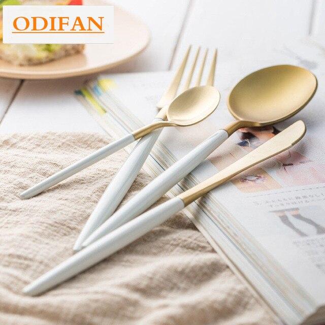 Brand Dinnerware Set Stainless Steel Cutlery Set 4 Pieces Black Knife Fork Set Tableware Gold Silver Cutleries Western Food Set