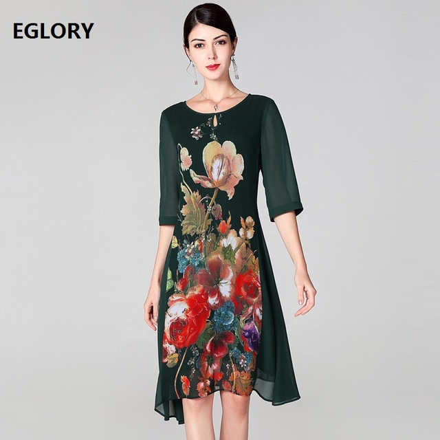 High Quality Brand Silk Dress 2019 Spring Summer Plus Size Dress Women Vintage Floral Print 3/4 Sleeve A-Line Casual Dress 60s