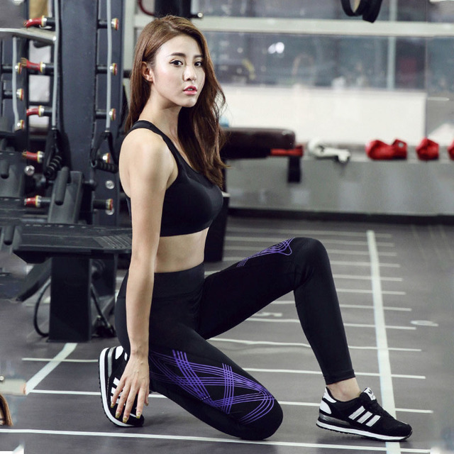 2016 New Casual Leggings Women Slim Stretchable High Elastic Quick-drying Pants Striped Printed Sporting Leggings Feminina
