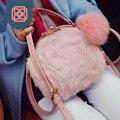 Winter Rabbit Fur Woman Designer Handbag Mini Tote PU Crossbody Bag