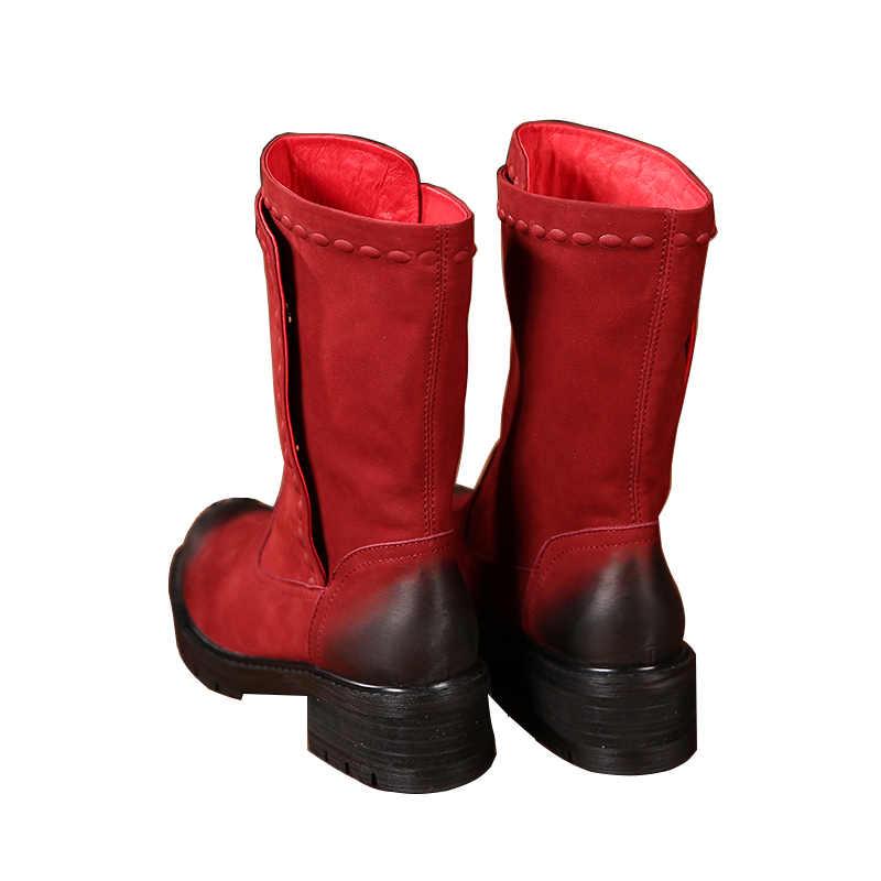 2018 Sonbahar Kış Hakiki deri ayakkabı Kadın Çizmeler Yuvarlak Ayak Düşük Topuklu Düğme El Yapımı Kadınlar Orta Buzağı Çizmeler