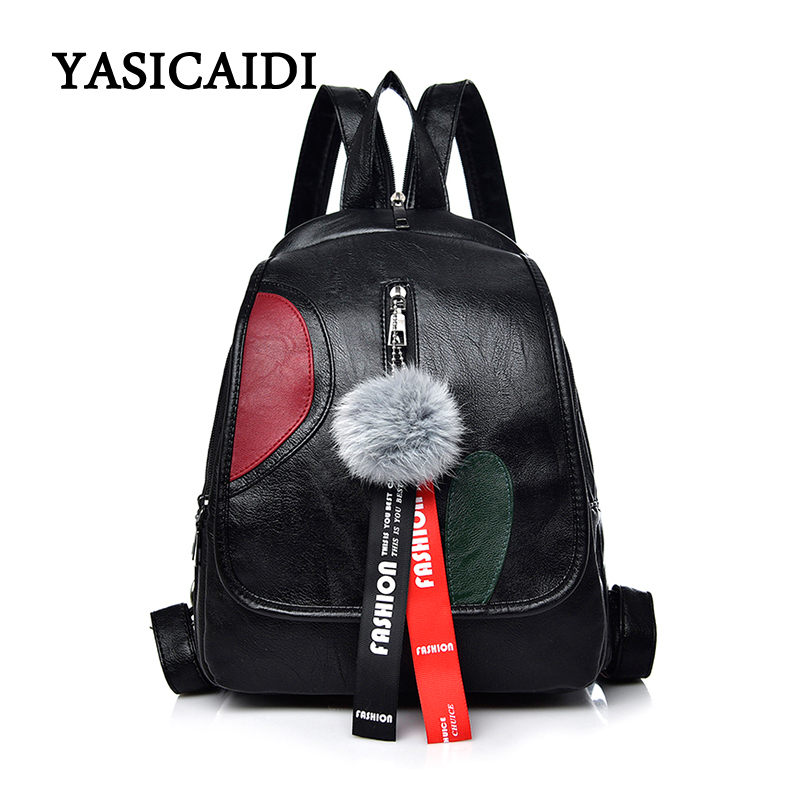 Women Backpack Fashion School Bags For Teenage Girls High Quality Pu Leather Back Pack Casual Shoulder Bags 2018 Hairball Mochil