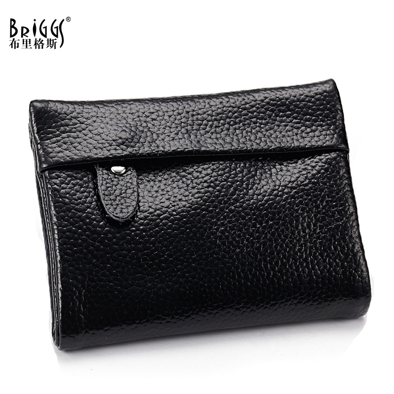 BRIGGS New Ladies Leather Small Short Wallet Women 100% Cow Genuine Leather Purse Clutch Bag Designer Wallets Famous Brand new designer 3 fold wallet women oil wax leather wallets cow genuine leather for man fashion card holder short purse ladies bag