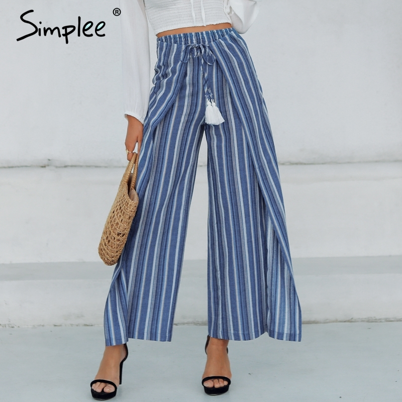 e Casual Striped Women Long   Pants     Capris   High Waist Sashes Tassel Pleated Cotton Linen   Pants   Boho Trousers Female 2019