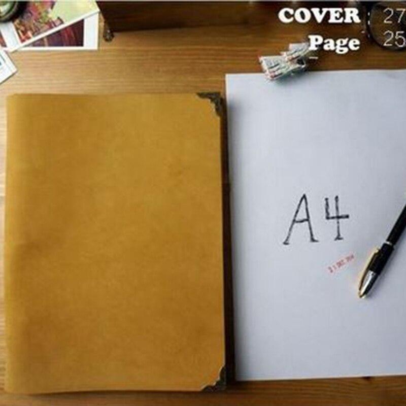 B5 comme A4 fait à la main en cuir de vachette véritable carnet de voyage carnet de qualité vintage remplisseur journal planificateur papier kraft cahier