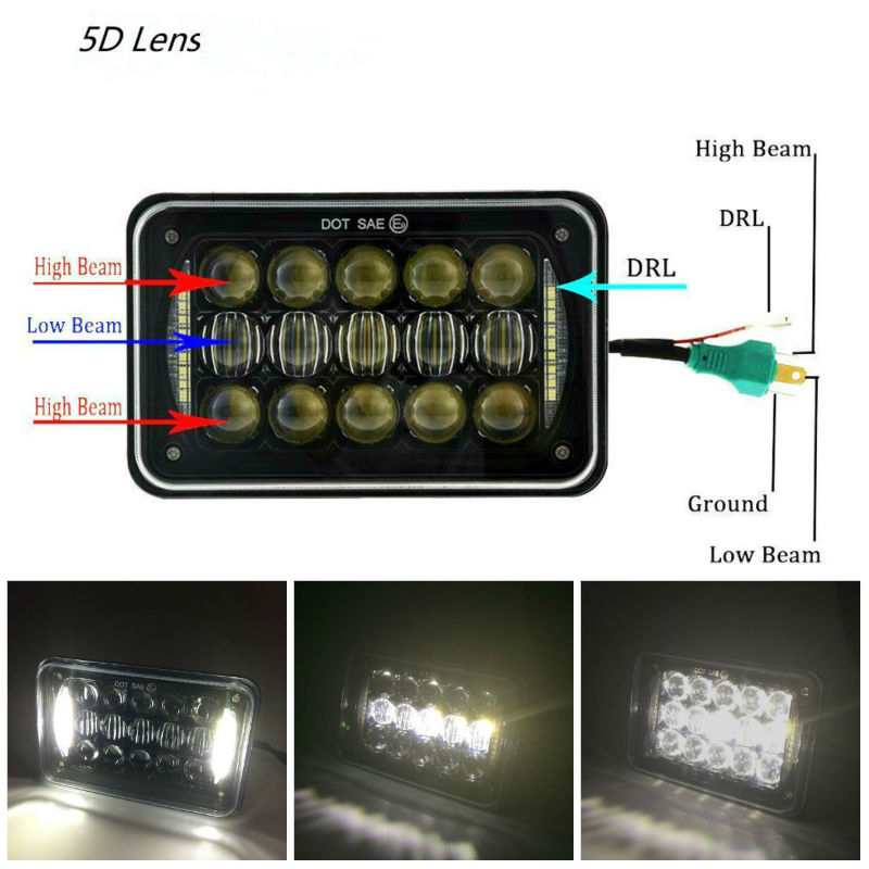 60W 4x6 inch LED Headlights Rectangular Replacement H4651 H4652 H4656 H4666 H6545 with DRL for Peterbil