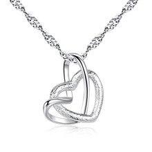 Двойной кулон сердце Цепочки и ожерелья ключицы элегантная дама Цепочки и ожерелья цепь 45 см