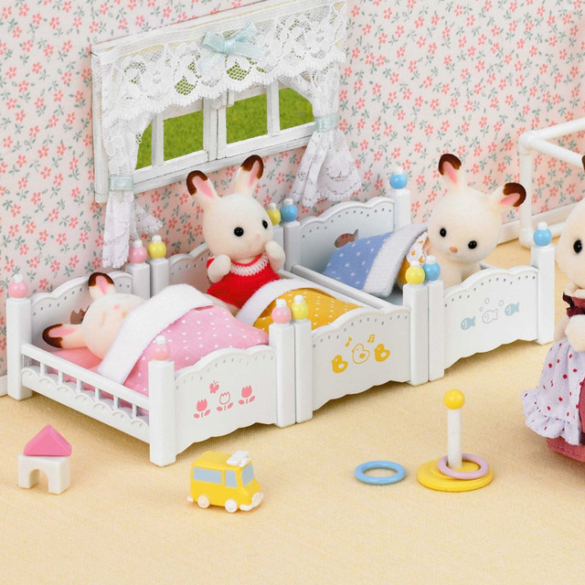 1 Set Cute Mini Removable Baby Bunk Bed Sylvanian Families House Furniture Pretend Play Miniature Dollhouse Toys For S