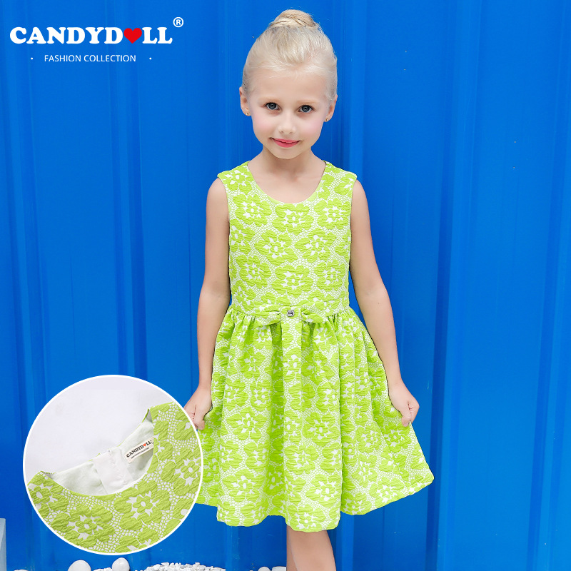 Candydoll 2017 children girls dresses summer sleeveless for Childrens dress fabric