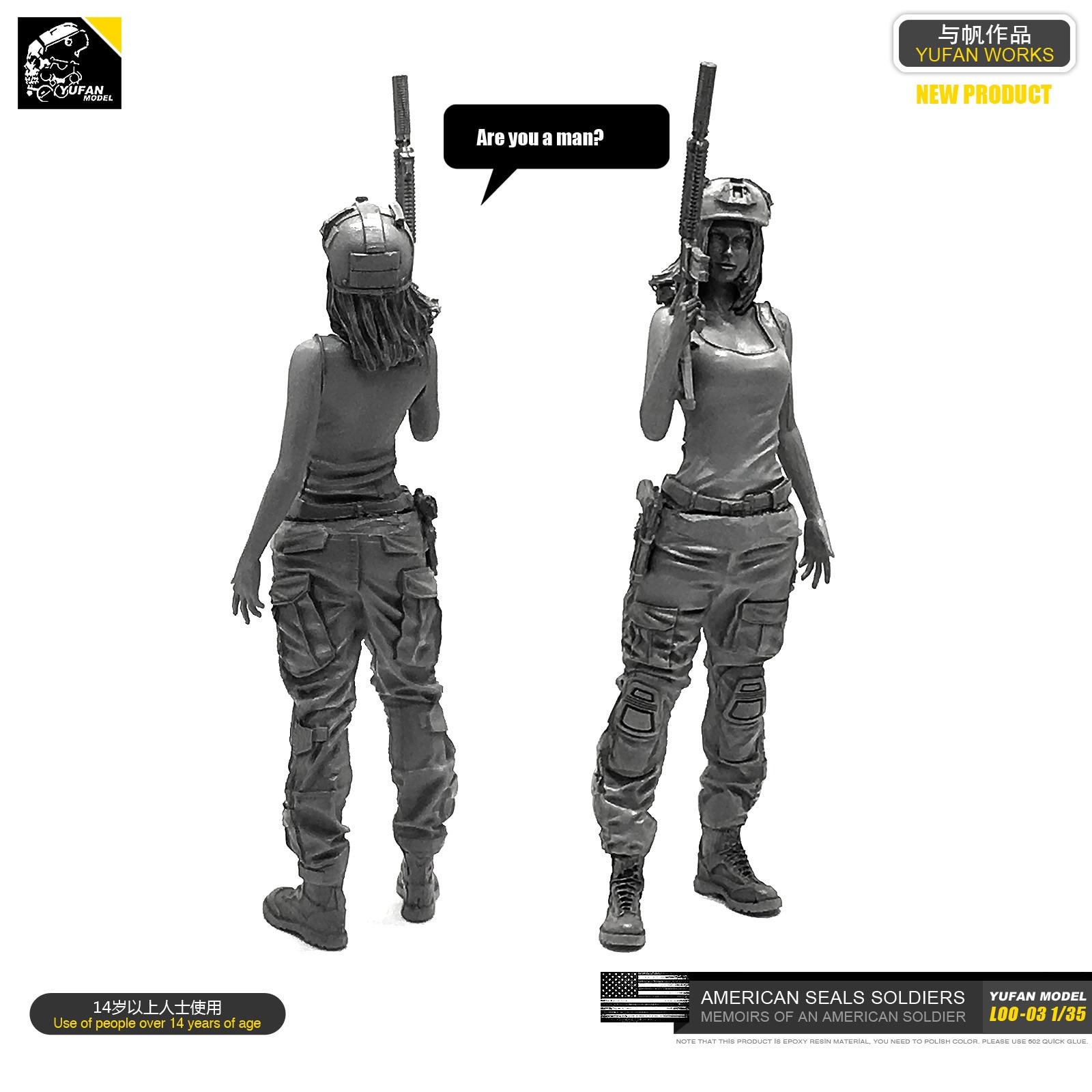 Yufan Model  1/35 Figure Model Kit American Seal Commando Resin Female Soldier Unmounted Loo-03