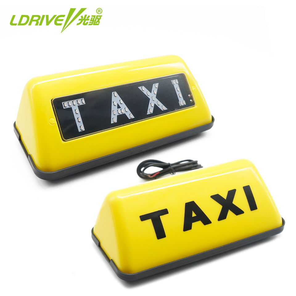 1PCS 5W Taxi Lamp Sign Lights Car Top Roof Signal Lights Yellow/Red Emitting Color 18cm*8cm*6.4cm 1 pcs roof top cab led taxi sign light 12v magnetic base lamp with cigarette lighter 3m cable waterproof yellow lamp