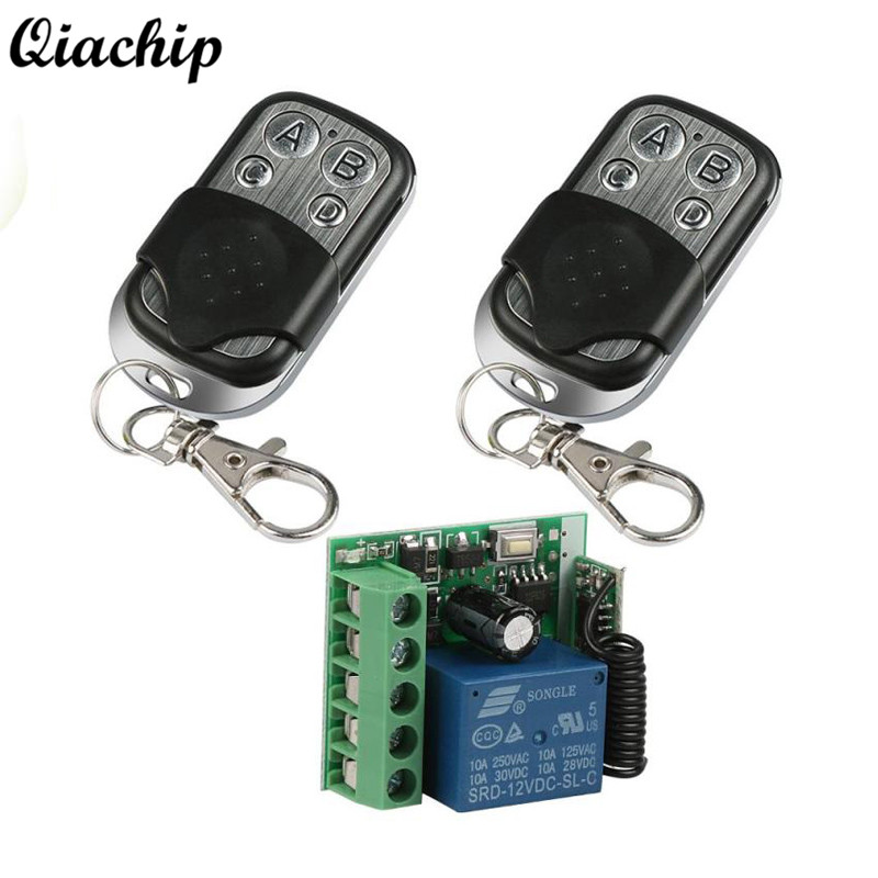 QIACHIP 433Mhz Wireless Remote Control Switch DC 12V 1CH RF Relay Receiver Module 2pcs RF Transmitter 433 Mhz Remote Controls dc12v rf wireless switch wireless remote control system1transmitter 6receiver10a 1ch toggle momentary latched learning code