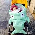 Зима kawaii спальный мешок dekentje kinderwagen новорожденного фотографии реквизита одеяло Акула Коляски муслин пеленать ребенка обертывание