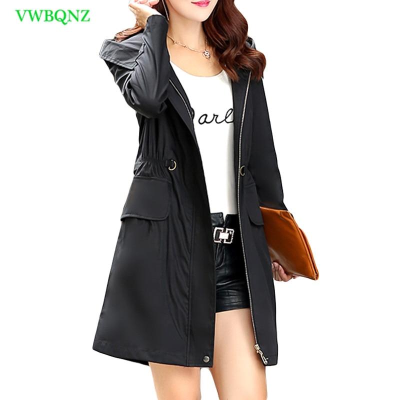 Spring Autumn Loose Long Plus size Windbreaker Coat Women Add Cotton Long sleeve Trench Coats Women's Hooded Overcoat 6XL A123