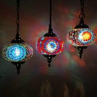 D18CM Turkey Decoration Colorful Stained Glass Hanging Lamp Living room Restaurant Kitchen Bar LED Vintage Mosaic Pendant Light