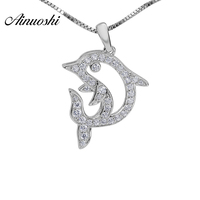 AINOUSHI 925 Sterling Silver Round Cut CZ Cute Animal Dolphin Shaped Argent sterling Necklace Pendant Wedding Engagement Jewelry