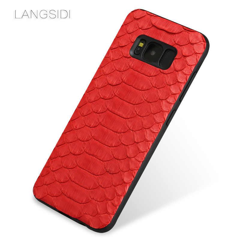 Wangcangli cep telefonu kılıfı doğal python cilt kapak telefon samsung kılıfı Galaxy S8 cep telefonu kapak tüm el yapımı özel