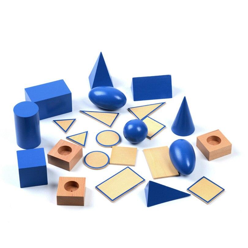 Bébé jouet Montessori géométrique solides avec supports Bases et boîte éducation de la petite enfance enfants jouets Brinquedos Juguetes - 2