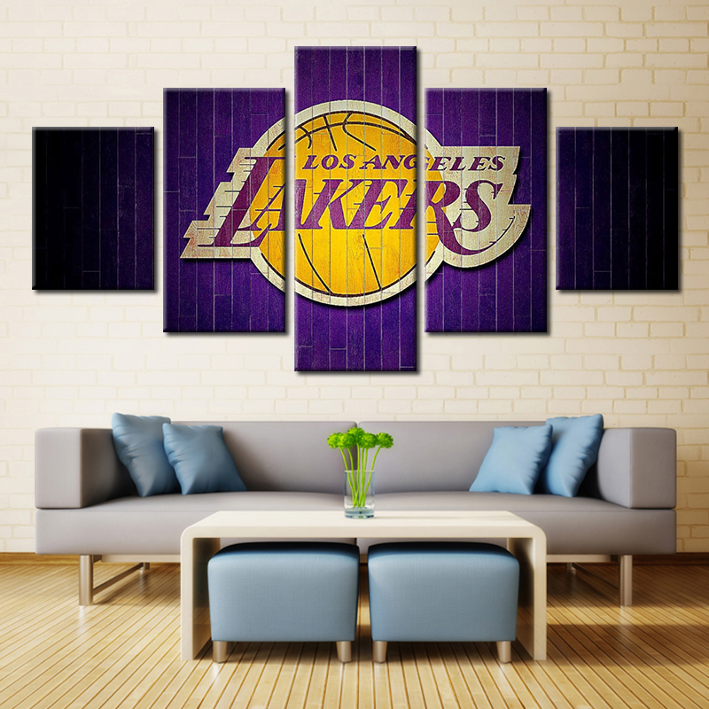 5 Pieces Los Angeles Lakers Sports Team Fans Oil Painting On Canvas Modern Home Pictures Prints Liveing Room Deco Fans Posters